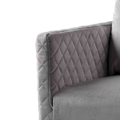 close up of the upholstered velvet fabric on the Bali Grey Velvet Accent Chair