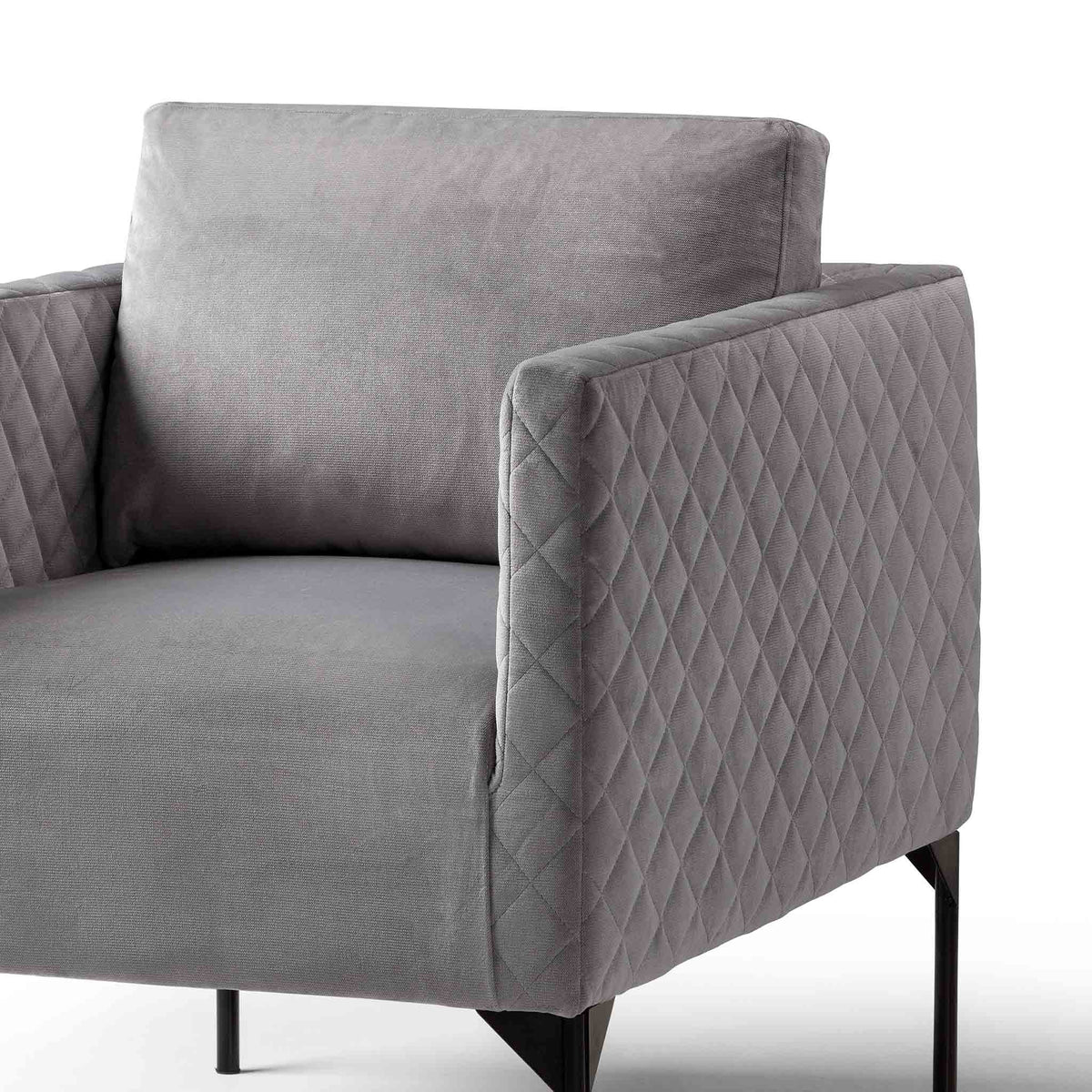 close up of padded seat and back cushions on the Bali Grey Velvet Accent Chair