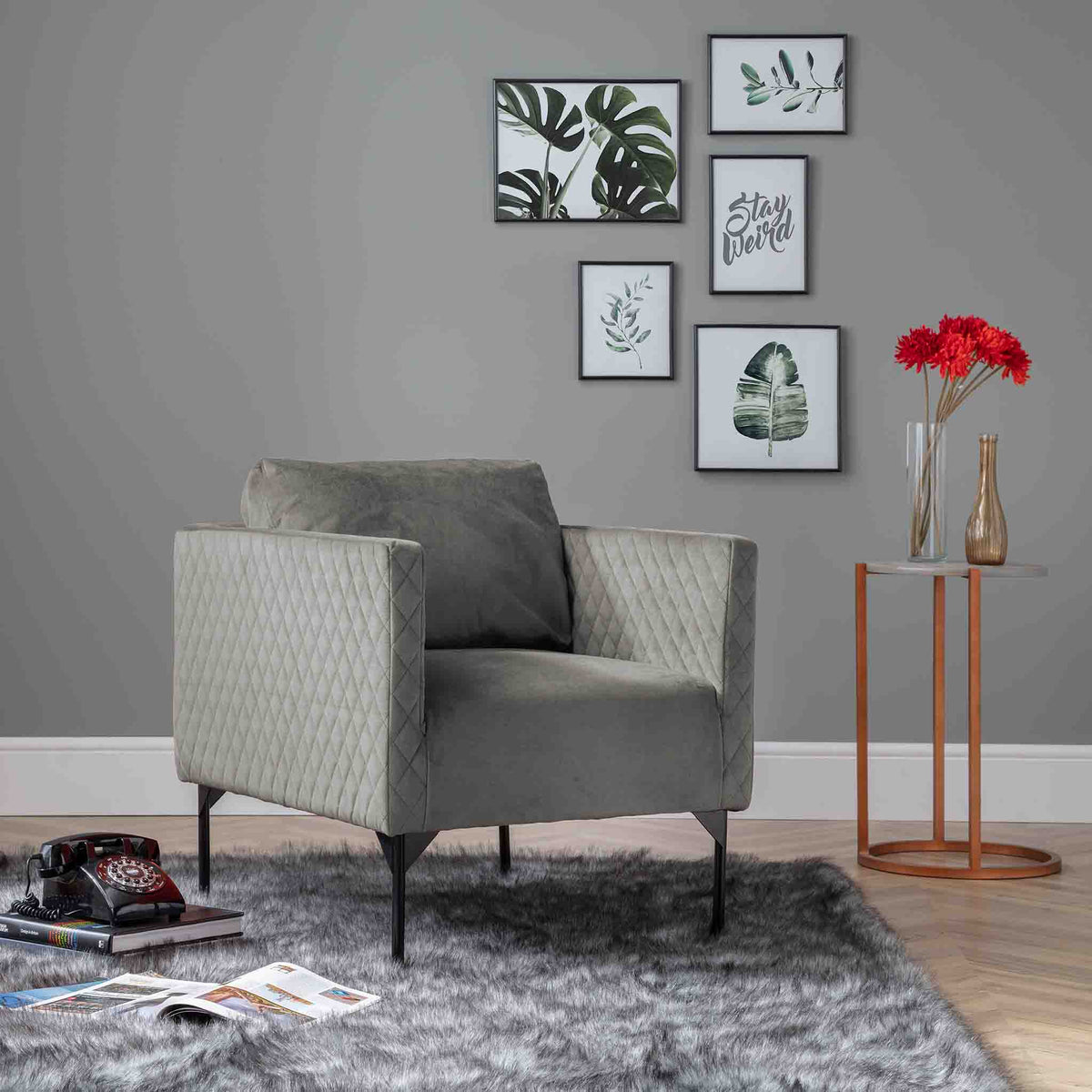 Bali Grey Velvet Accent Chair Lifestyle image