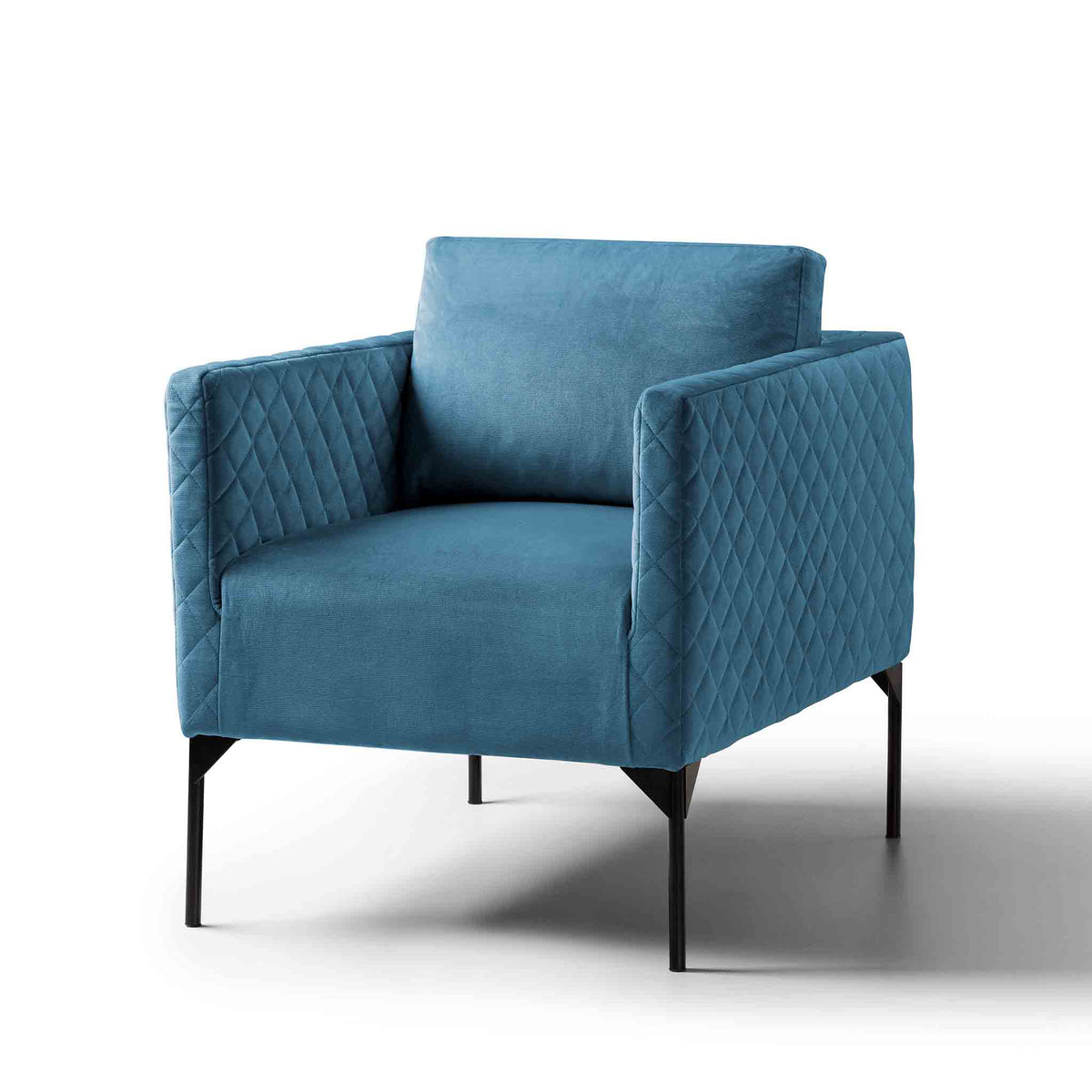 Bali Peacock Blue Velvet Accent Armchair