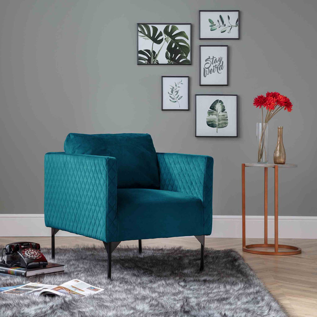 Bali Peacock Velvet Accent Chair lifestyle image