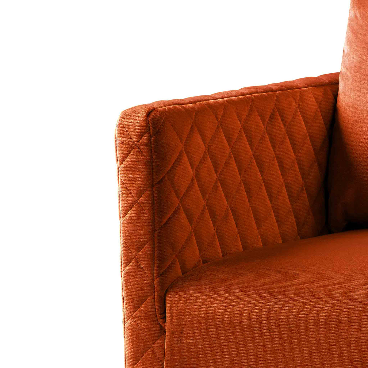 close up of the upholstered velvet fabric on the Bali Apricot Velvet Accent Chair