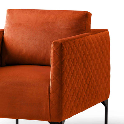 close up of the padded seat and backrest cushion on the Bali Apricot Velvet Accent Chair