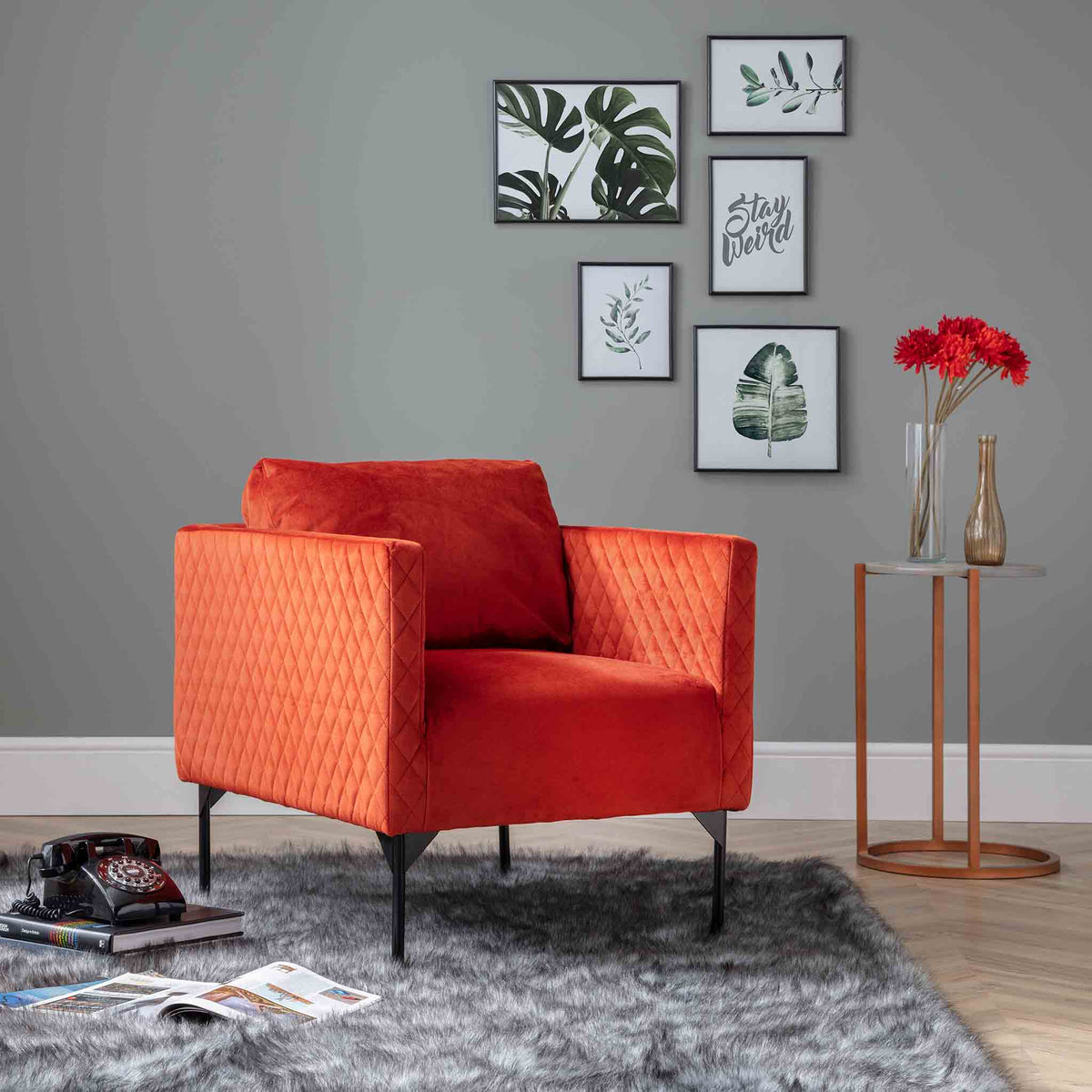 lifestyle image of the Bali Apricot Velvet Accent Chair
