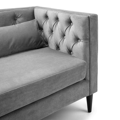 close up of padded foam seat on the Savoy Grey Velvet 2 Seater Accent Chair