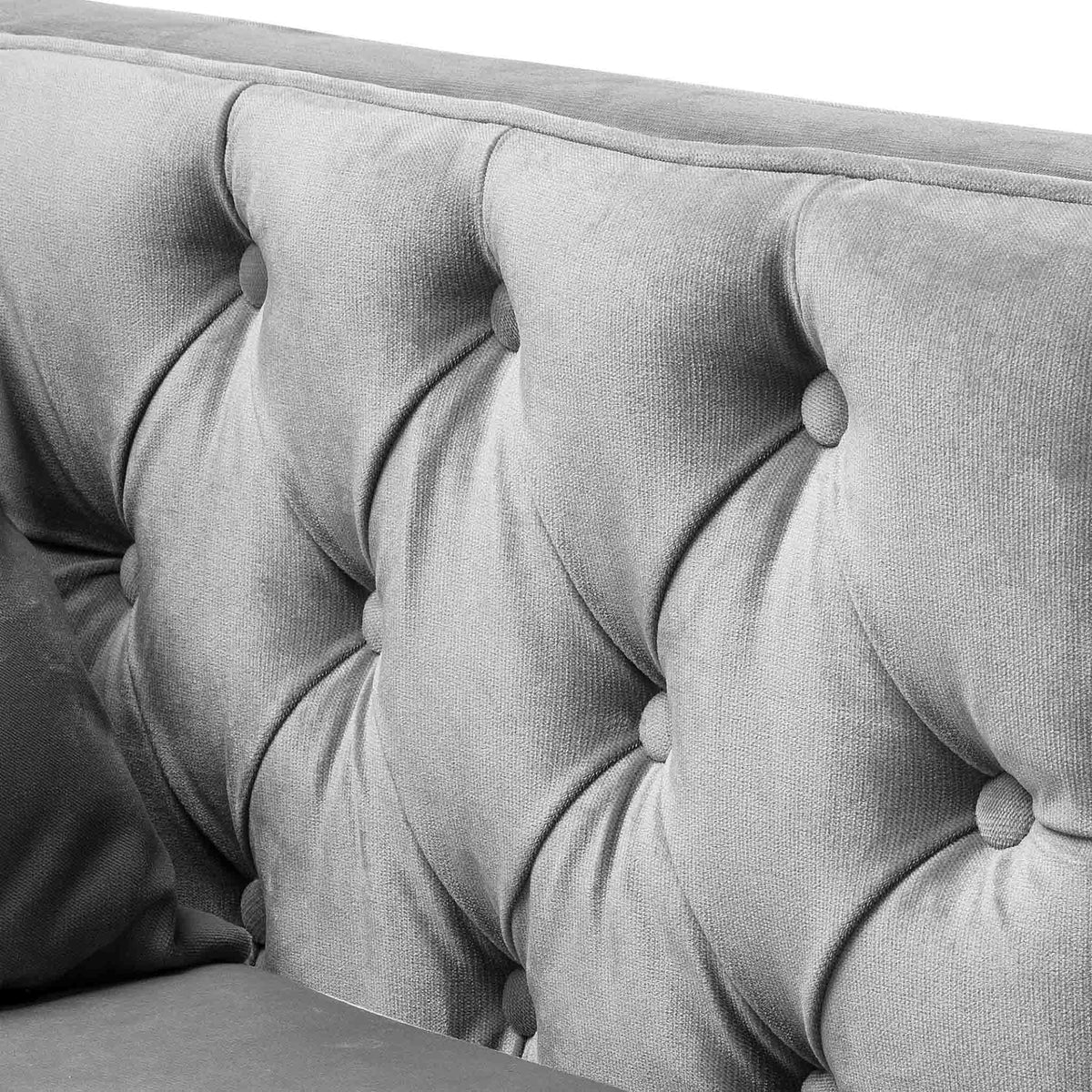 close up of the button tuft detail design on the Savoy Grey Velvet 2 Seater Accent Chair