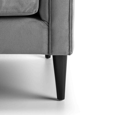 close up of mid century tapered wooden legs on the Savoy Grey Velvet 2 Seater Accent Chair