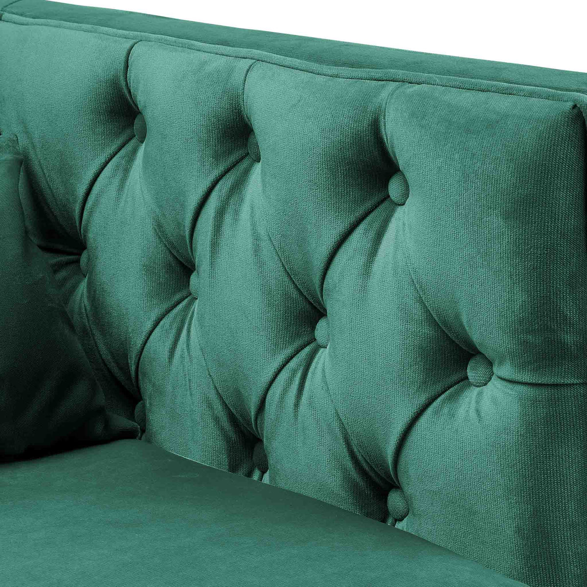 close up of the button tuft detail on the Savoy Jasper Velvet 2 Seater Accent Sofa