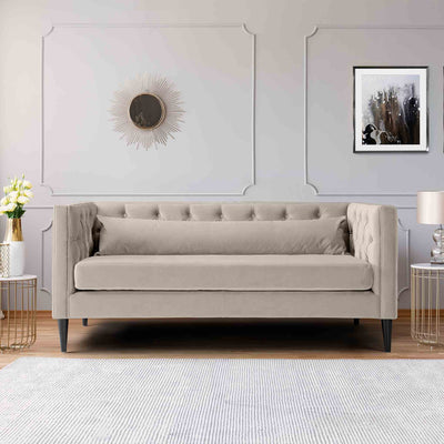 Savoy Putty Velvet 2 Seater Accent Sofa lifestyle image