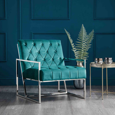 Icon Velvet Accent Chair - Peacock