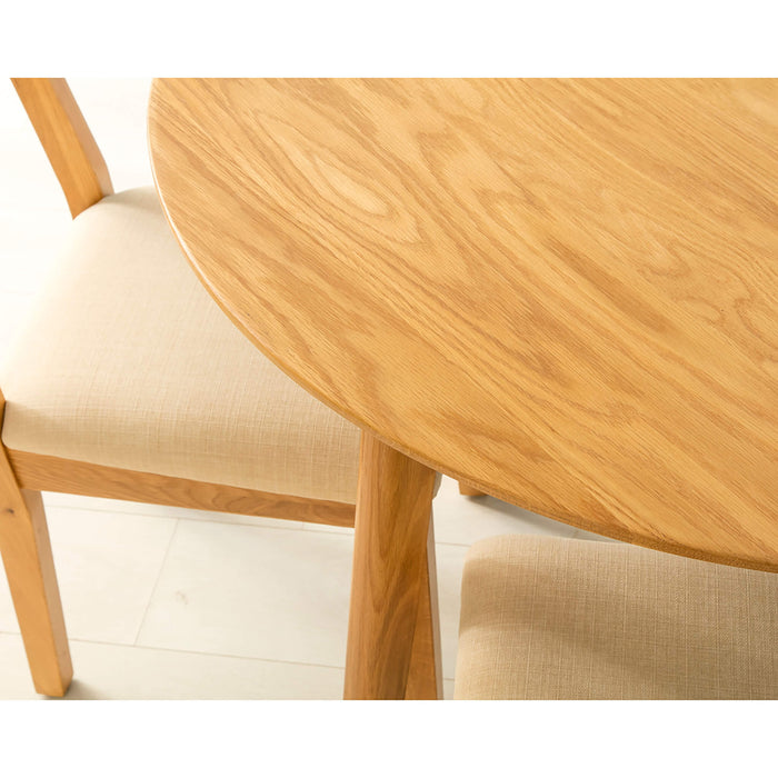 Nordic Oak Round Table Dining Set ( 4 Chairs )