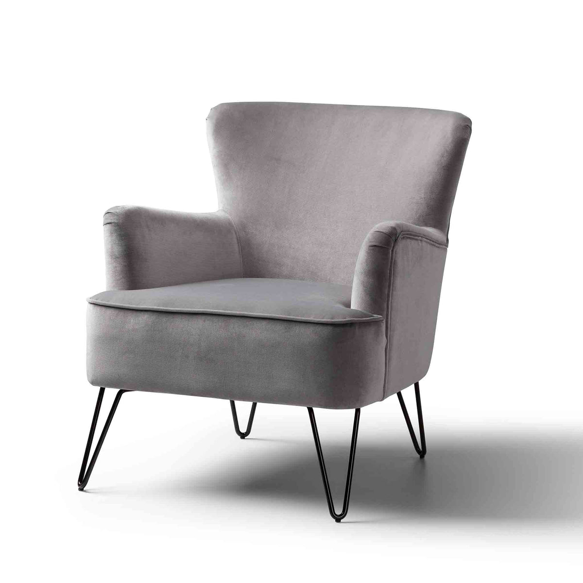 Oasis Velvet Accent Chair - Grey
