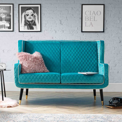 Monty Lagoon Blue Two Seater Chair lifestyle image