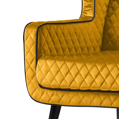 close up of piped trim on the Monty Gold Two Seater Chair