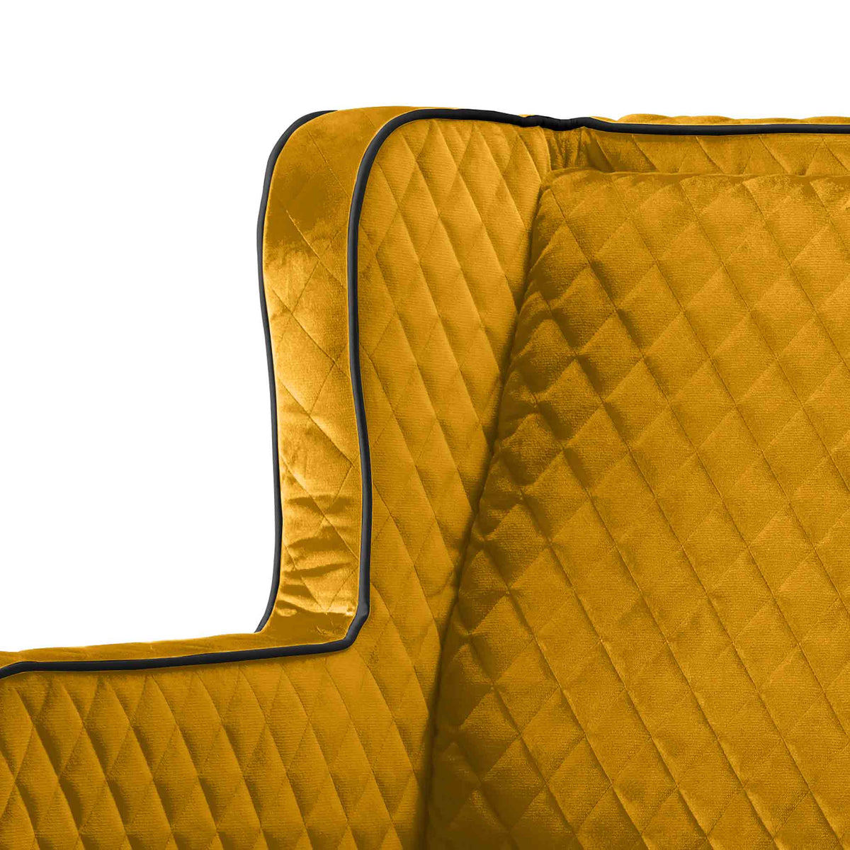 close up of the diamond stitching on the Monty Gold Two Seater Chair