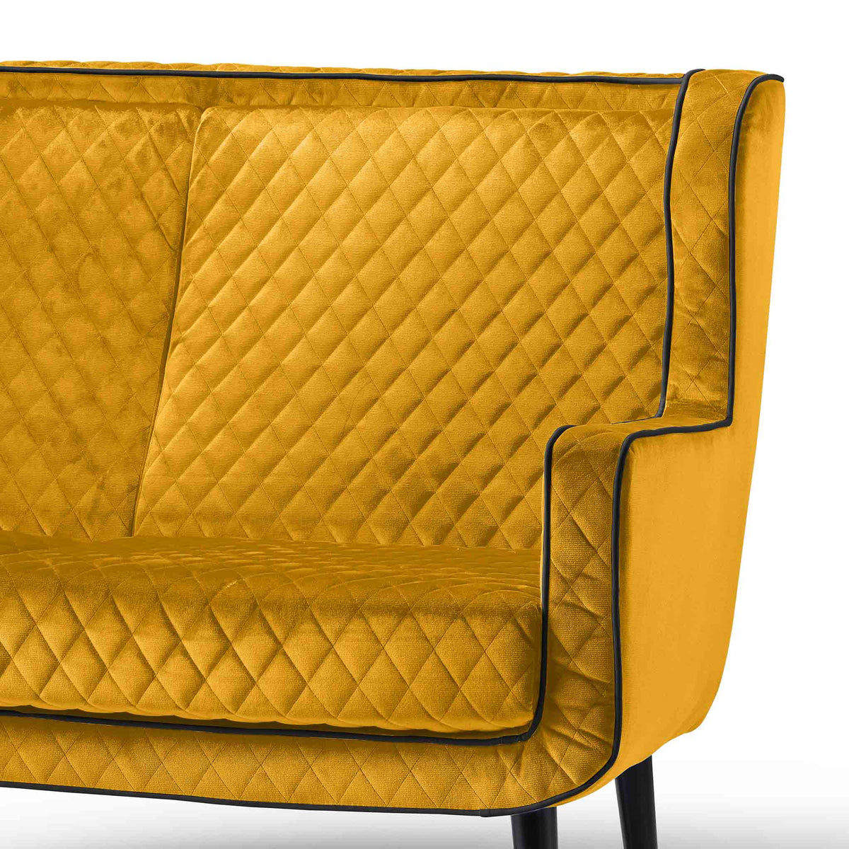 close up of the high backrest on the Monty Gold Two Seater Chair