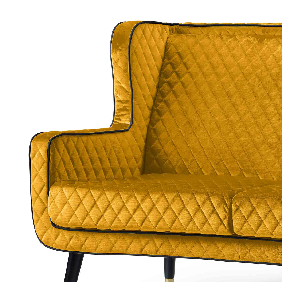 close up of the padded seat on the Monty Gold Two Seater Chair
