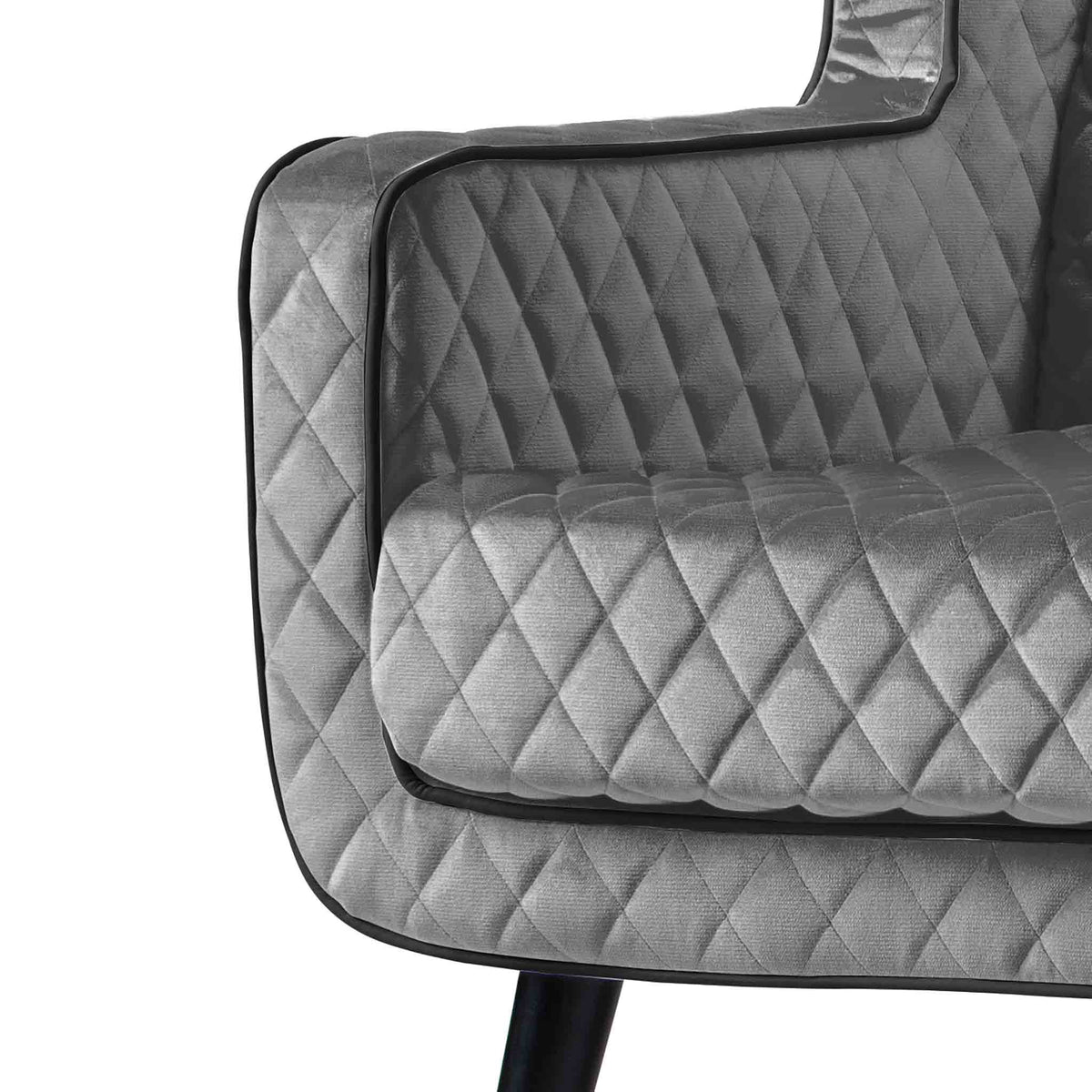close up of the piped trim on the Monty Grey Two Seater Chair