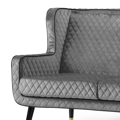 close up of the padded seat on the Monty Grey Two Seater Chair
