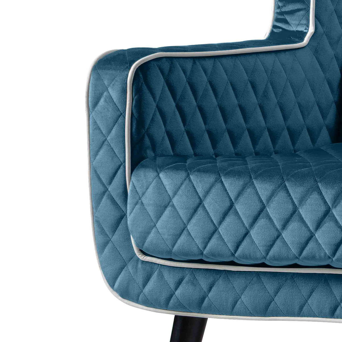 close up of the piped trim on the Monty Peacock Two Seater Chair