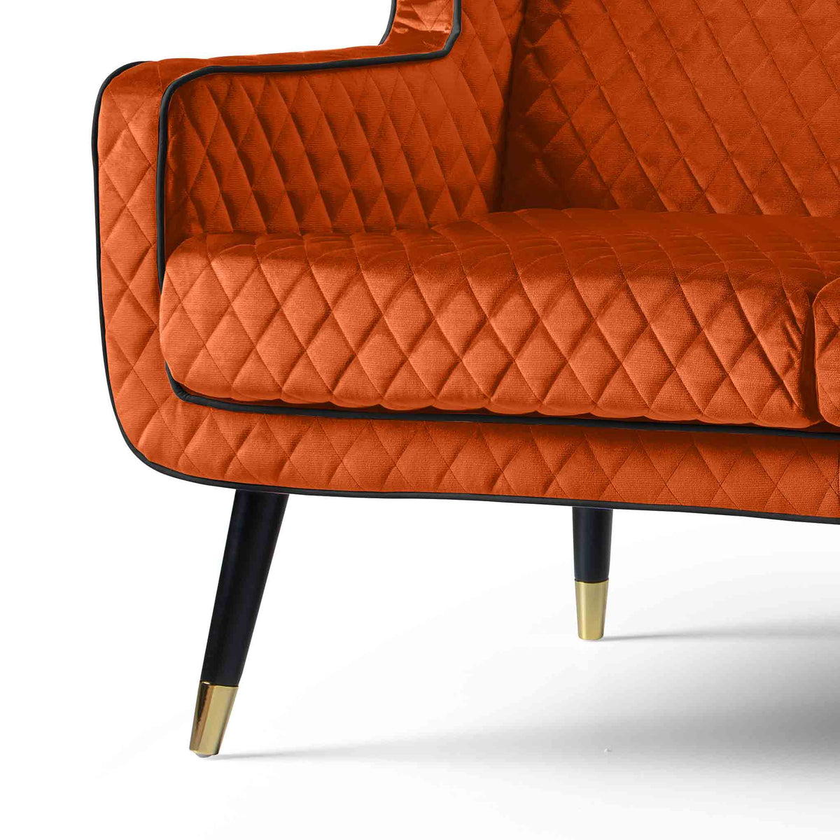 close up of the padded seats on the Monty Apricot Two Seater Chair
