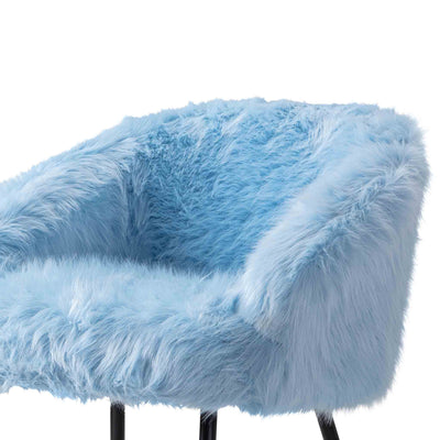 Ivy Faux Fur Accent Chair - blue