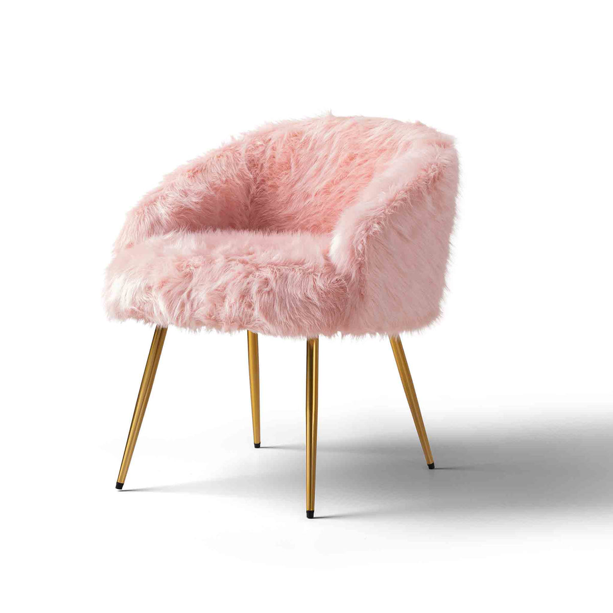 Ivy Faux Fur Accent Chair - pink
