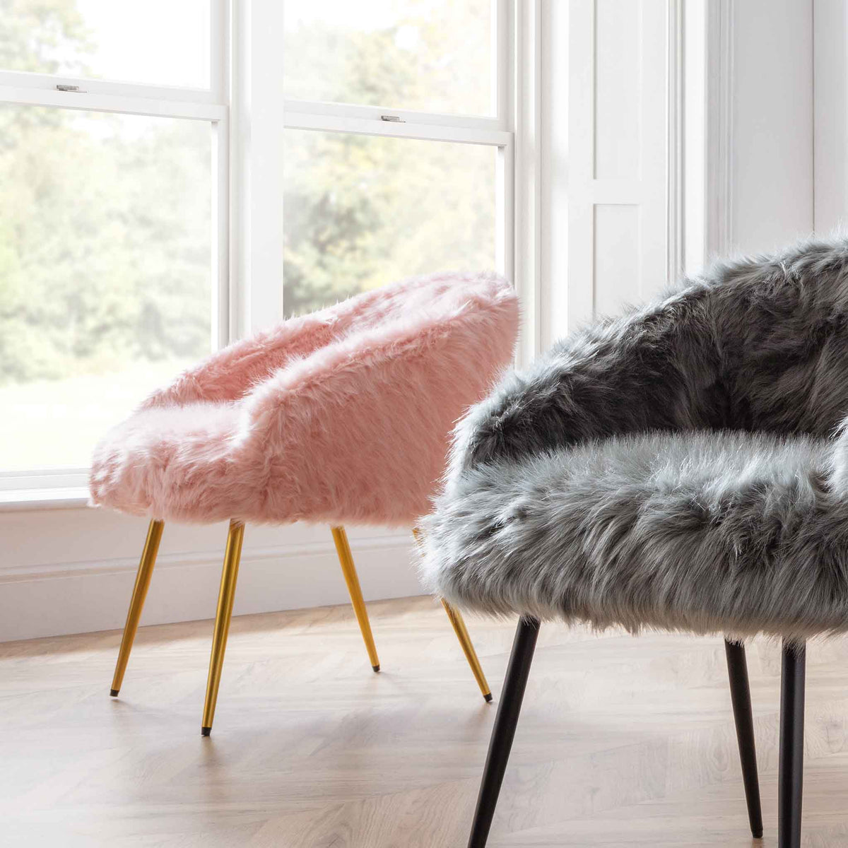 Ivy Faux Fur Accent Chair - pink and grey