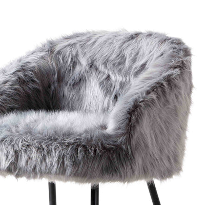 Ivy Faux Fur Accent Chair - grey