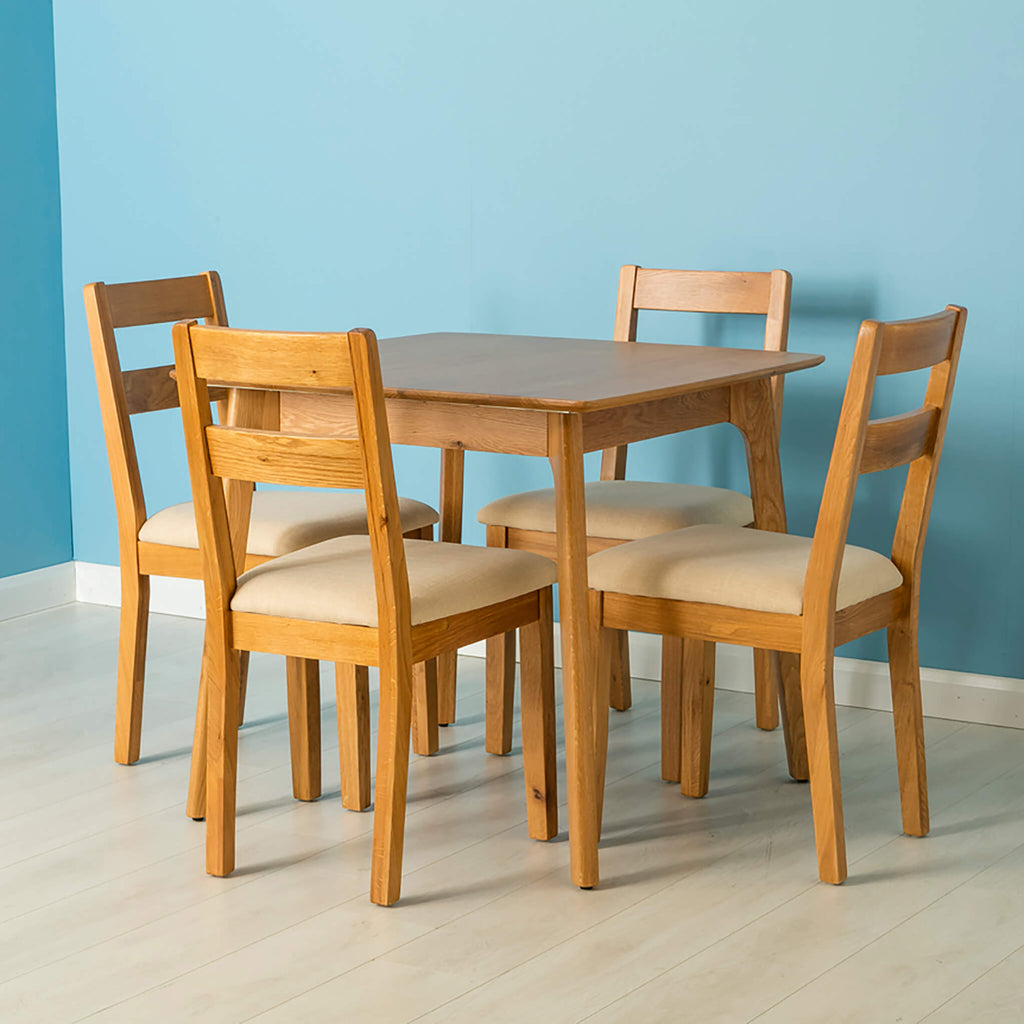 Nordic Solid Oak Square 85cm Dining Table Set 4 Chairs