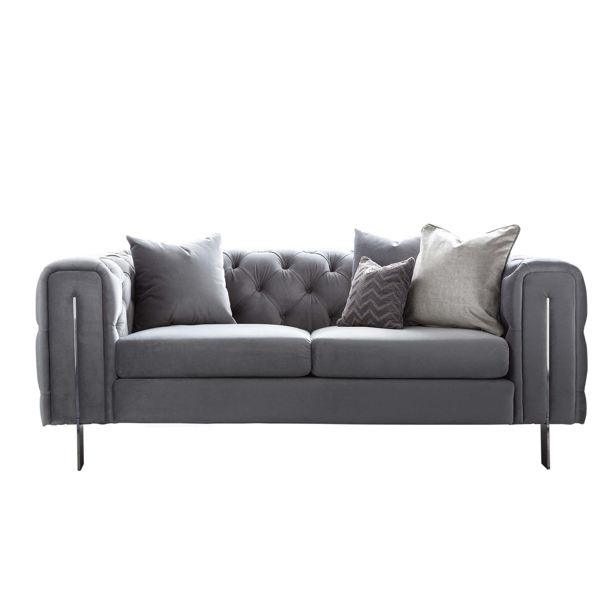 Ritz Grey Velvet 2 Seater Chesterfield Settee from Roseland Furniture