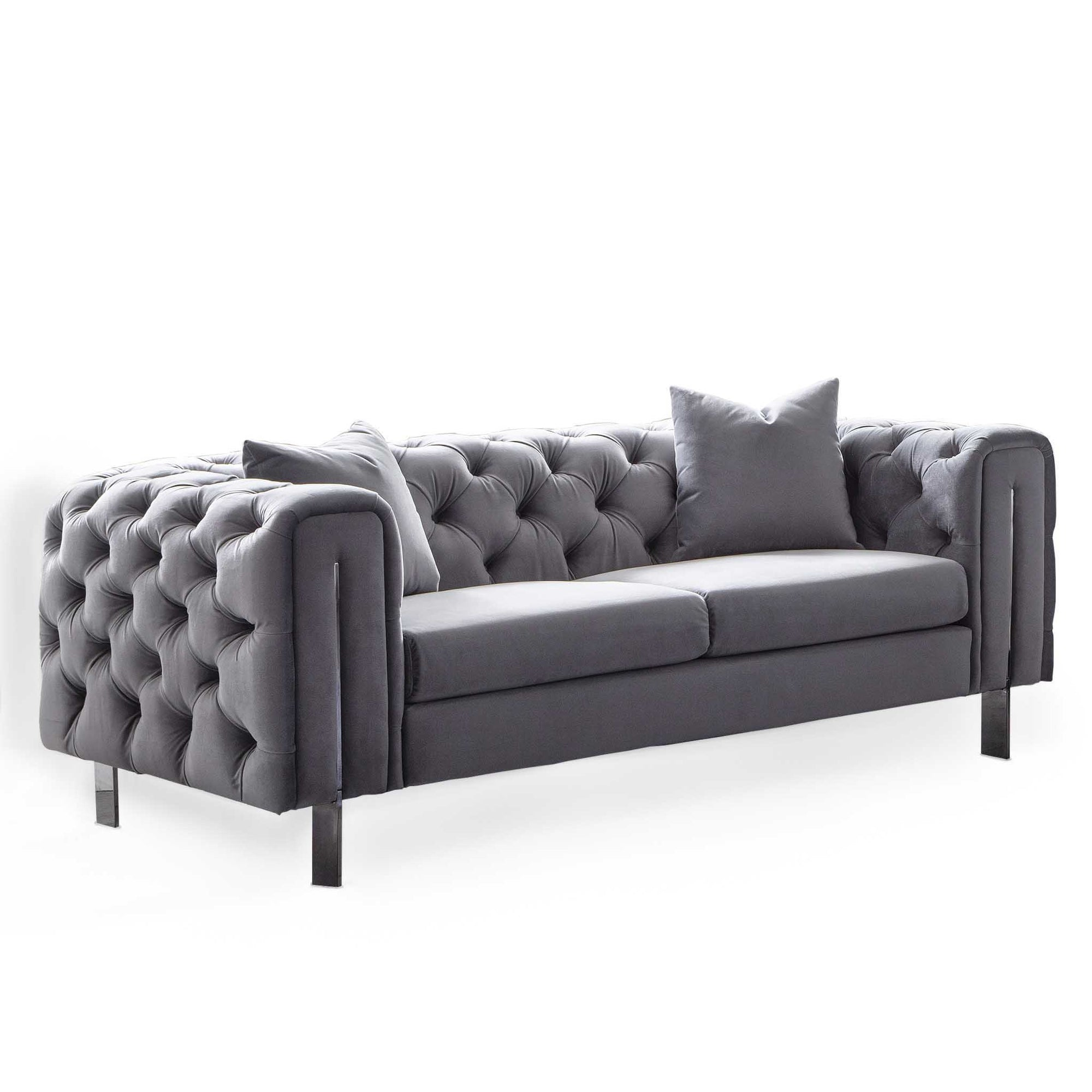 Ritz Grey Velvet 3 Seater Chesterfield Couch by Roseland Furniture