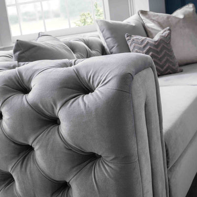 close up of the button tuft detail on the Ritz Grey Velvet 2 Seater Chesterfield Sofa