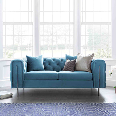 Ritz Peacock Velvet 2 Seater Chesterfield Couch lifestyle image