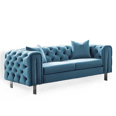 Ritz Peacock Velvet 2 Seater Chesterfield Sofa from Roseland Furniture