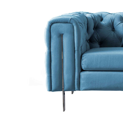 close up of the supporting stainless steel feet on the Ritz Peacock Velvet 2 Seater Chesterfield Sofa