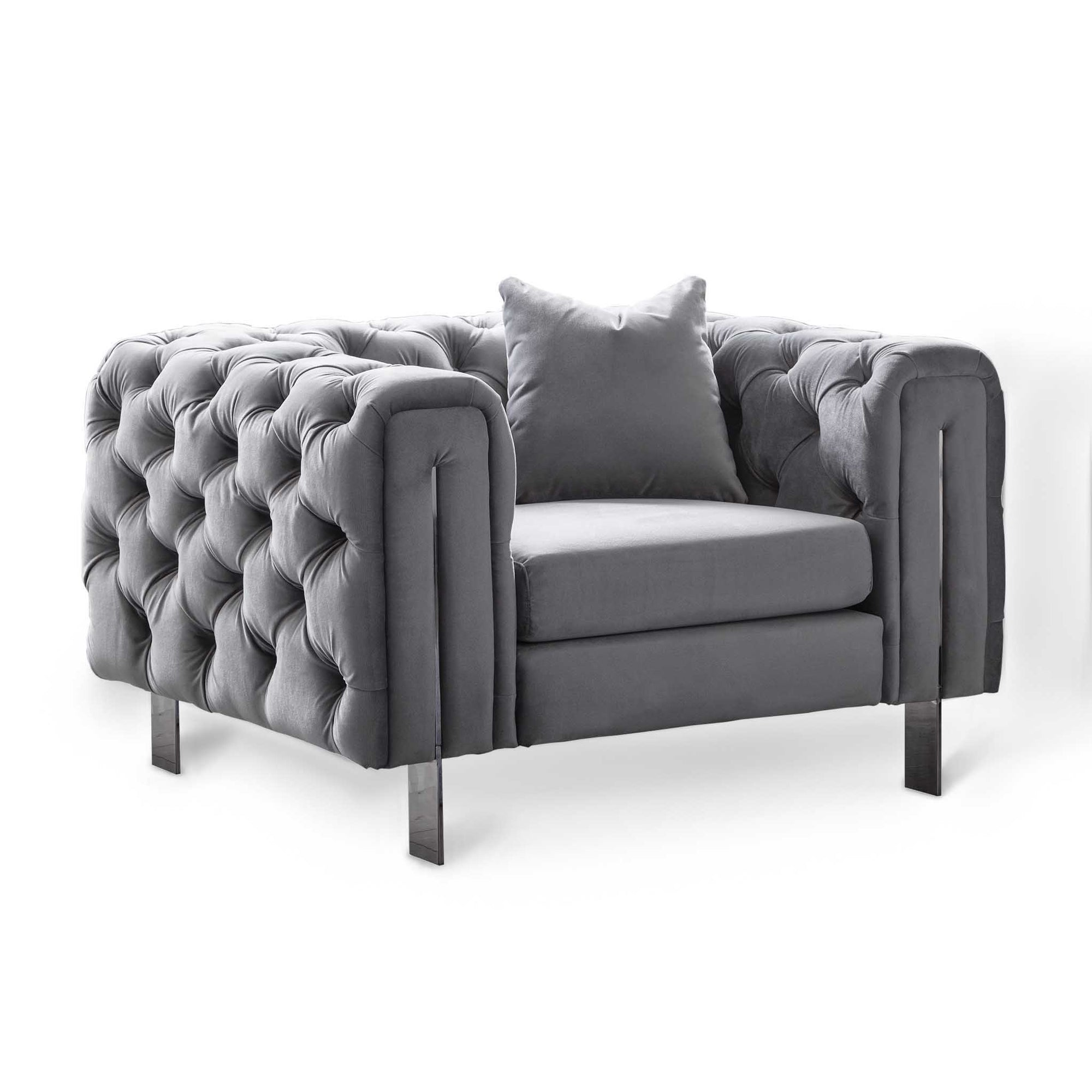 Ritz Grey Velvet Chesterfield Armchair by Roseland Furniture