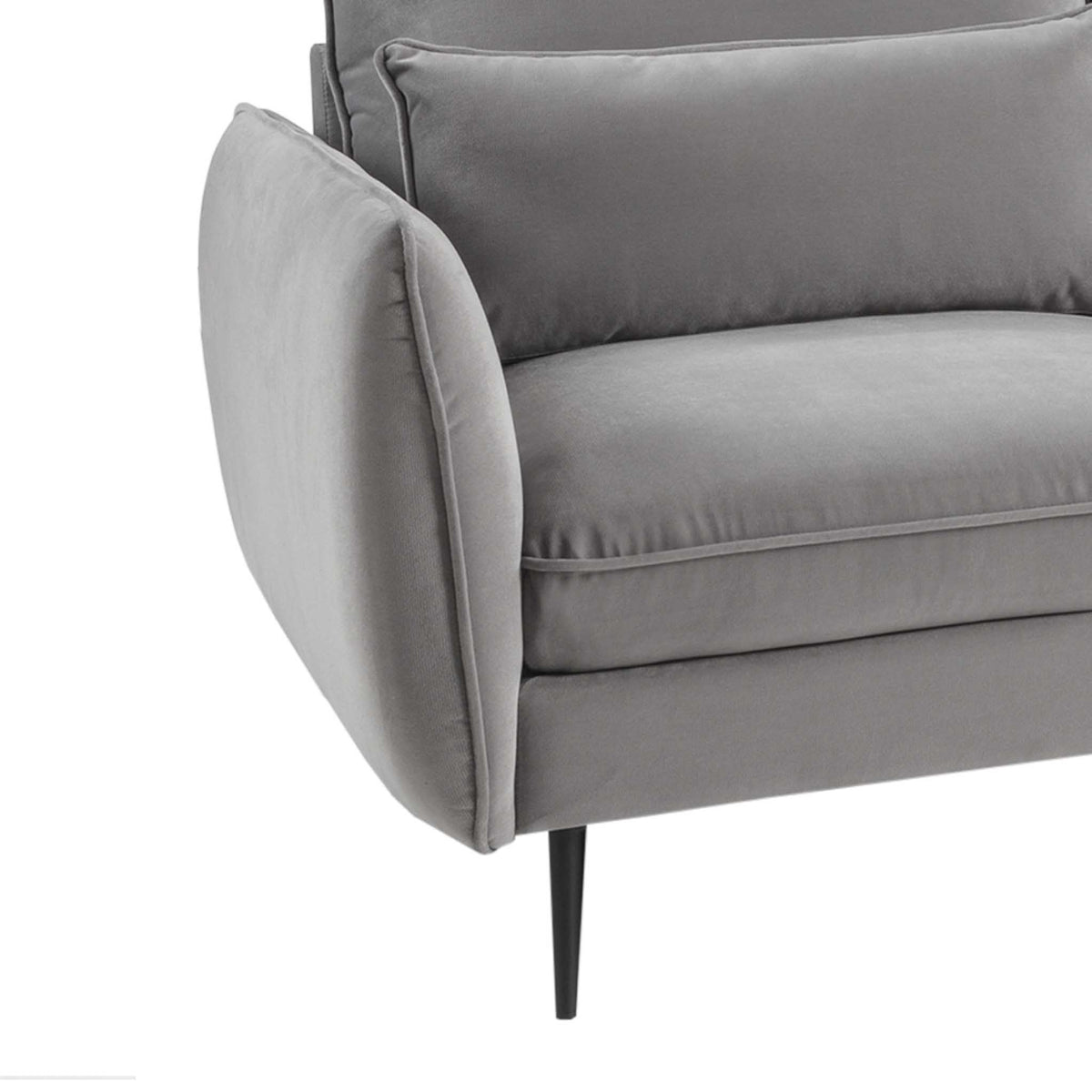 close up of the cushioned armrests on the Rhonda Grey Velvet 3 Seater Sofa