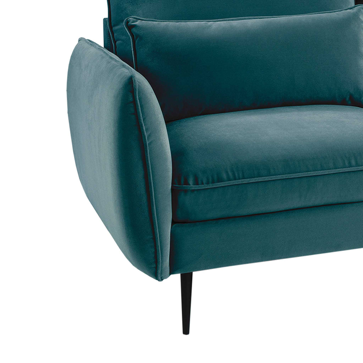 close up of the cushioned armrest on the Rhonda Peacock Velvet 3 Seater Sofa