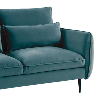 close up of the foam padded seats and accent cushions on the Rhonda Peacock Velvet 3 Seater Sofa