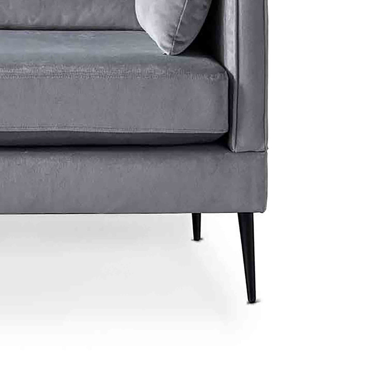 Anton Grey 2 Seater Sofa - Close up of feet on sofa
