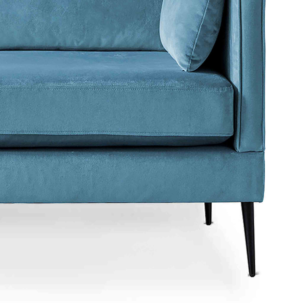 Anton Peacock 2 Seater Sofa - Close up of feet on sofa