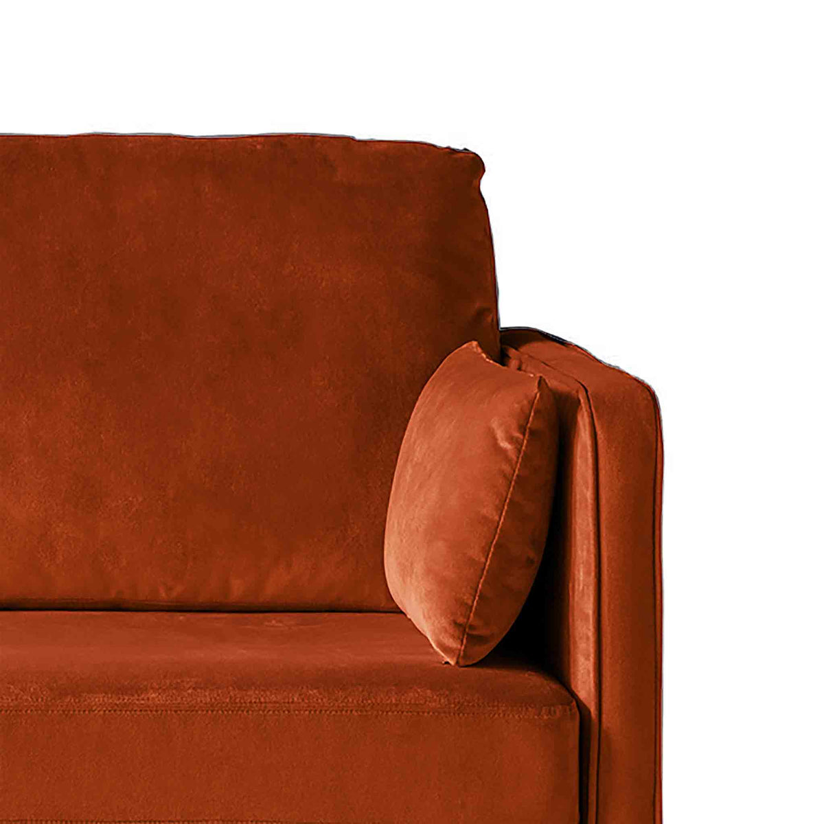 Anton Apricot 2 Seater Sofa - Close up of arm rest on sofa