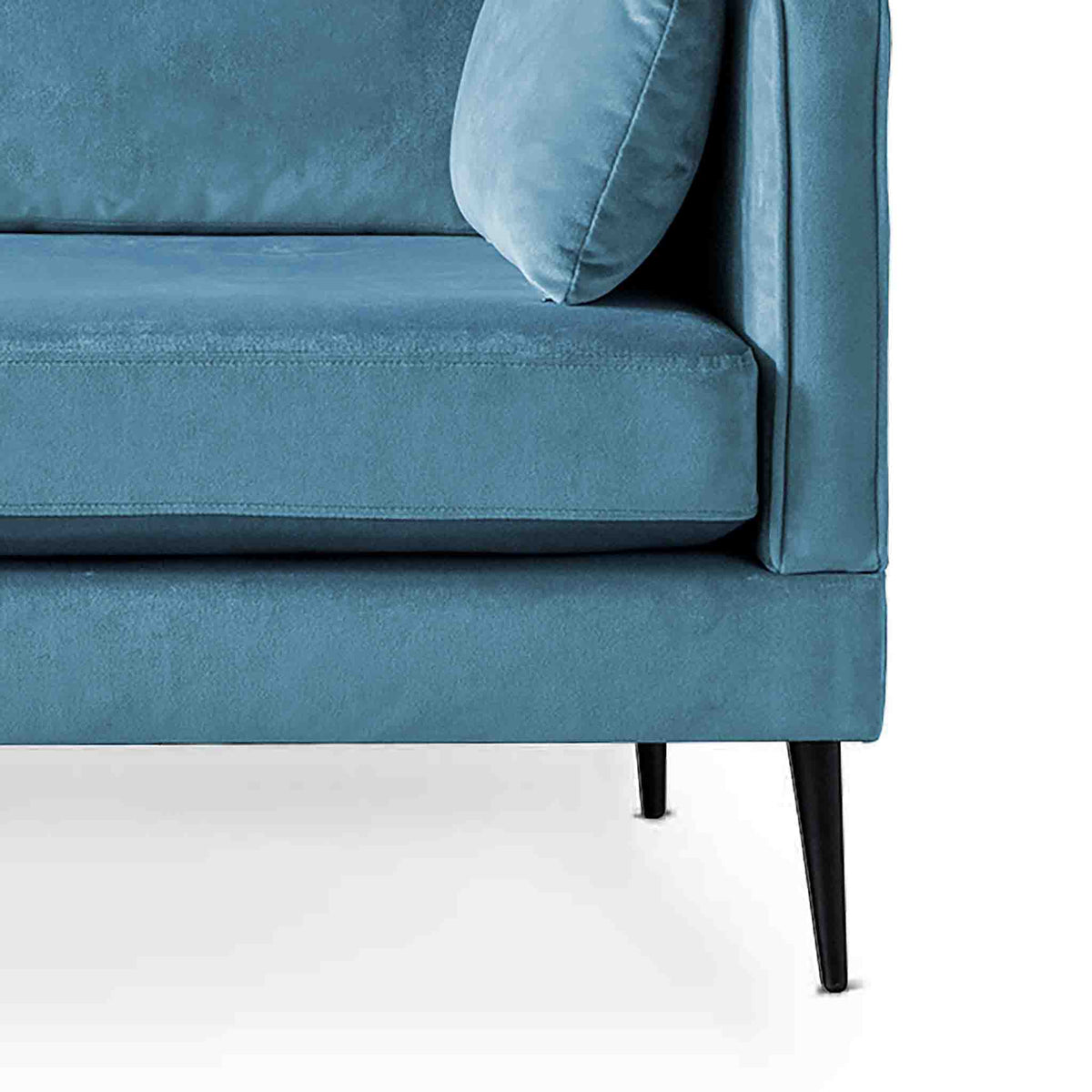 Anton Peacock 3 Seater Sofa - Close up of feet on sofa