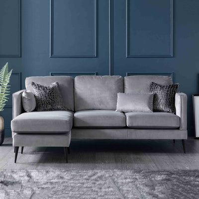 Anton Reversible Grey Corner Chaise Sofa -Left hand chaise Lifestyle
