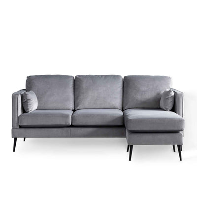 Anton Reversible Grey Corner Chaise Sofa - right hand chaise