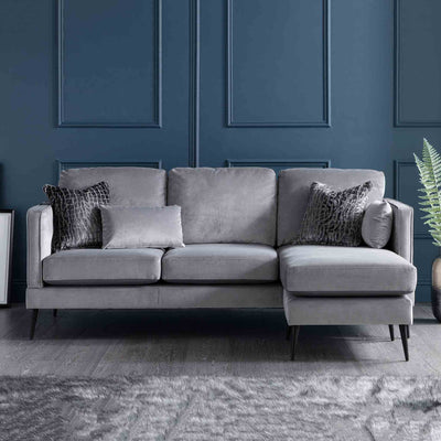 Anton Reversible Grey Corner Chaise Sofa - Right hand chaise Lifestyle