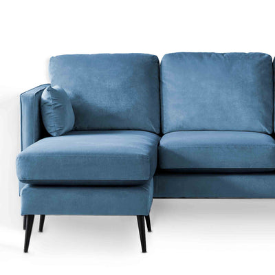 Anton Reversible Peacock Corner Chaise Sofa - Close up of chaise
