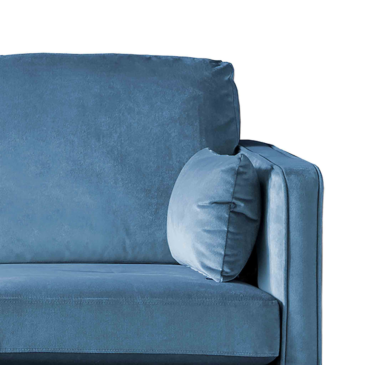 Anton Reversible Peacock Corner Chaise Sofa - Close up of arm rest