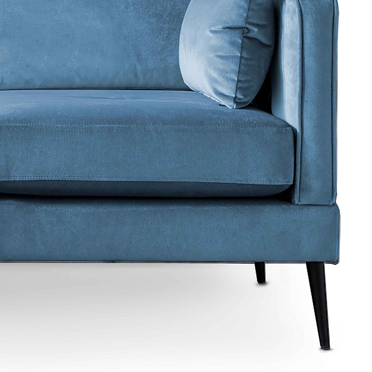 Anton Reversible Peacock Corner Chaise Sofa - Close up of feet
